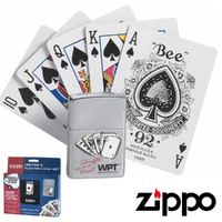 New Zippo World Poker Tour Street Chrome Lighter & Playing Card Set