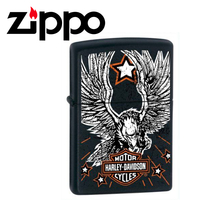 New Zippo Matte Black Harley Davidson Star & Eagle Lighter