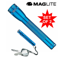 MAGLITE FLASHLIGHT 2AA BLUE & SOLITAIRE COMBO MADE IN USA
