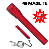 MAGLITE FLASHLIGHT 2AA RED & SOLITAIRE COMBO MADE IN USA