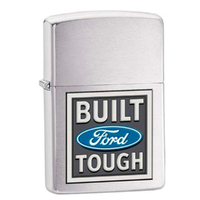 New Zippo Brushed Chrome Ford Built Tough Lighter