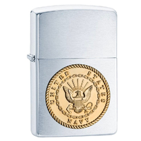 New Zippo Brushed Chrome US Navy Emblem Lighter