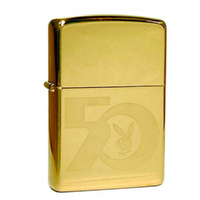 Zippo High Polish Brass Playboy 50th Logo Lighter Collectors