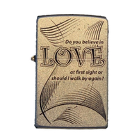 Zippo Do you Believe in Love Satin Chrome Finish Cigar Cigarette Lighter