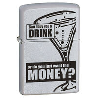 Zippo Can I Buy You A Drink Satin Chrome Finish Cigar Cigarette Lighter