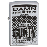 Zippo Damn If Being Sexy Satin Chrome Finish Cigar Cigarette Lighter