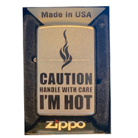 Zippo Caution Handle With Care Satin Chrome Finish Cigar Cigarette Lighter