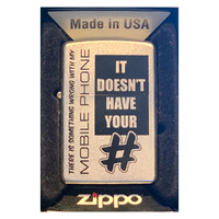 Zippo There is Something Wrong Satin Chrome Finish Cigar Cigarette Lighter