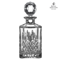 New Royal Doulton Highclere Premium Crystal Square Spirit Decanter