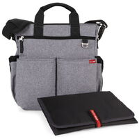 New SKIP HOP Duo Signature Nappy Diaper Baby Bag + Changing Mat HEATHER GREY SkipHop SAVE!