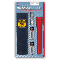 NEW MAGLITE 2AA CELL RED FLASHLIGHT WITH POUCH MADE IN USA
