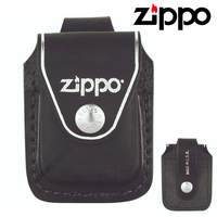 New ZIPPO Black Leather Pouch with Loop , Free Post
