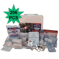 206pc Emergency FIRST AID KIT Water Tight Plastic Case Medical Travel Set Workplace Family Safety