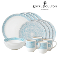 New Royal Doulton 16pc ED Ellen DeGeneres Dinner Set of 16 , Polar Blue Dots