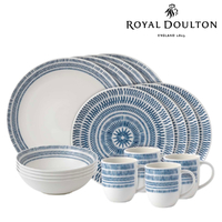 Royal Doulton 16pc ED Ellen DeGeneres Dinner Set of 16 Chevron Dark Blue