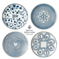New Royal Doulton 16cm Blue Love Plate Set of 4 , 4pc