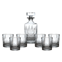 Royal Doulton Earlswood Crystal Whiskey Decanter Set , Decanter + 6 Tumblers