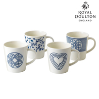 New Royal Doulton 475ml Blue Love Mug Set of 4 , 4pc