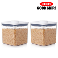 2 x OXO 2.6L POP 2.0 CONTAINER 2600ml AIR TIGHT BIG SQUARE SHORT