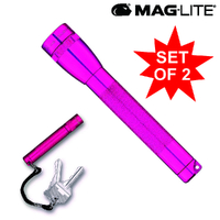 MAGLITE 2AA FLASHLIGHT HOT PINK & SOLITAIRE MADE IN USA