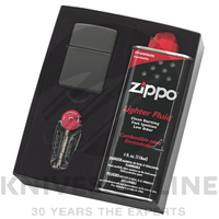 NEW ZIPPO MATTE BLACK LIGHTER WITH FLUIDS + FLINTS 90218GP GIFT BOX  FREE POST