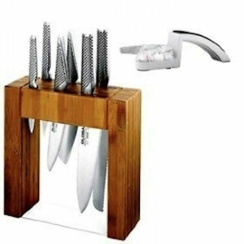 JAPANESE Knives GLOBAL IKASU PLUS Mino SHARPENER Knife Block Set **BNIB**