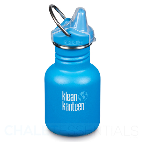 KLEAN KANTEEN KID 355ml 12oz SIPPY WATER BOTTLE - POOL PARTY BLUE