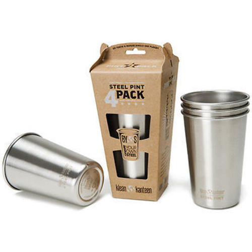 KLEAN KANTEEN 16oz 473ml Stainless Steel Pint Cup 4 Pack Stackable Dishwasher Safe BPA Free