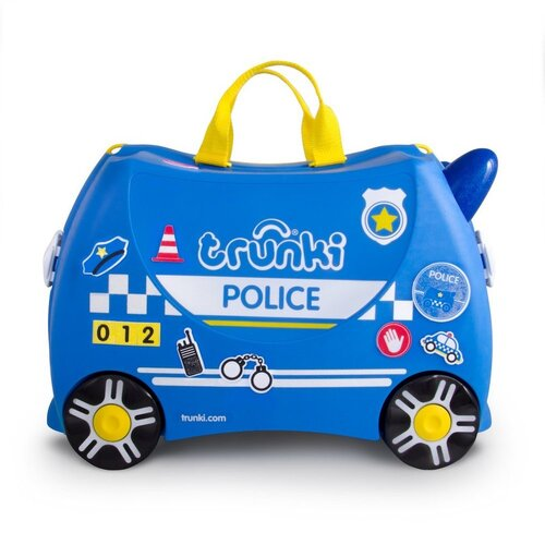New TRUNKI Ride on Kids Suitcase Luggage Toy Box PERCY POLICE