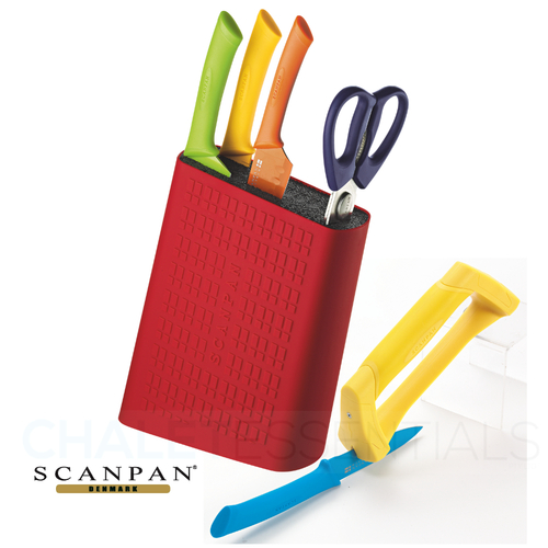 New SCANPAN Spectrum 6 Piece Uni Block Set COLOUR Shears Knives Bonus Sharpener 18759