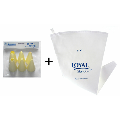 LOYAL Piping Icing Bag Size 1 28cm Length + 6 NOZZLES GERMANY