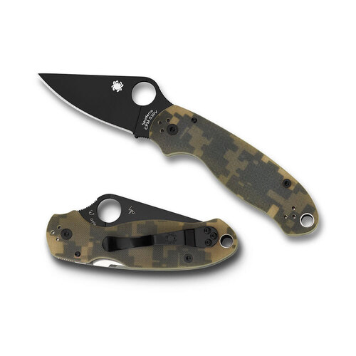 SPYDERCO PARA MILITARY 3 CAMO SATIN PLAIN BLADE FOLDING KNIFE C223GPCMOBK