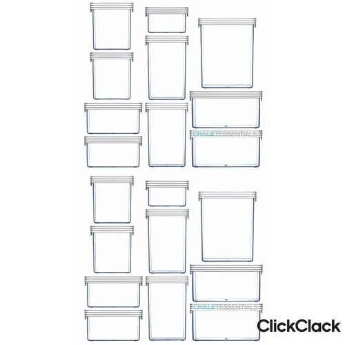 CLICKCLACK 20 Piece Basics Starter Pack Air Tight Containers 20pc